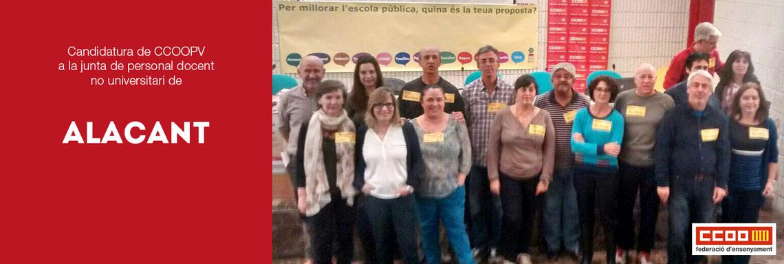 candidatos CCOOPV a personal docent no universitari d'Alacant